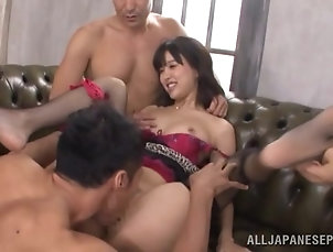 Amateur,Asian,Fishnet,Gangbang,Hardcore,Japanese,Stockings,Toys,Vibrator Tsukasa Aoi gets satisfied by a few...