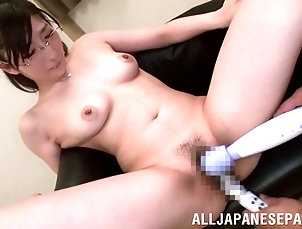 Glasses,Asian,Japanese,Bra,Hardcore,Toys,Vibrator Doting Asian pornstar having her tits...