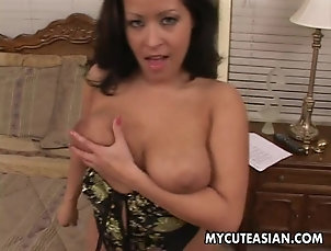 Asian Brunette bitch titty fucks and sucks...
