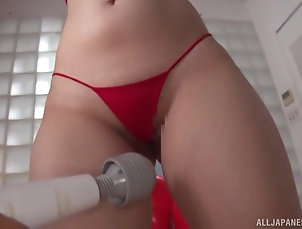 Couple,Japanese,Toys,Vibrator,Bikini,Natural Tits,Fetish Lovely Futaba Hashizuku moans while...