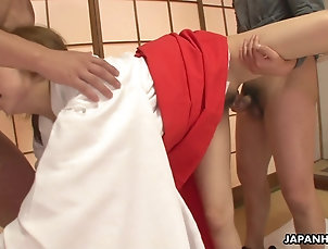 Threesome,MMF,Japanese,Doggystyle,Natural Tits,Clothed Sex Japanese housewife, Yui Misaki had...