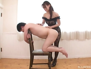 Couple,Japanese,Rim Job,Lingerie Husband kneeling on a chair while...