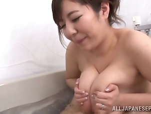 Couple,Hardcore,Asian,Japanese,Titjob,Bath,Big Tits,Natural Tits Horny maiden with big tits giving...