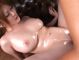 Hardcore,Couple,Asian,Japanese,Oiled Ryu lets a man play with her big...