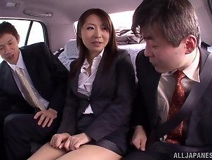 Hardcore,Threesome,MMF,Asian,Japanese,Car Fucking,Pantyhose,Nylon Japanese office girl enjoys sucking...