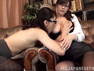 Lesbian,Asian,Japanese,Long Hair,Glasses Well graced Japanese lesbians in...
