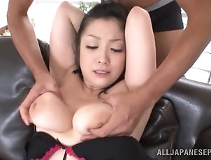 Couple,Hardcore,Asian,Japanese,Lingerie,Natural Tits,Stockings,Fishnet,Chubby Lingerie-clad Asian slut with nice...