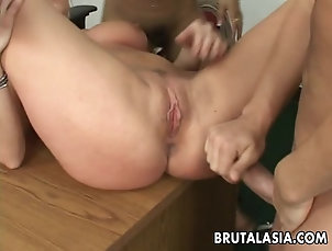 Threesome,FFM,Hardcore,Asian,Licking Annie and her slutty friend fuck the...