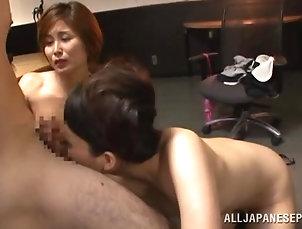 Asian,Bra,FFM,Japanese,MILF,Office,Stockings,Threesome Satsuki Kirioka and Sorami Haga are...