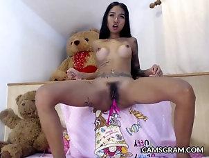 Asian Pretty Tattooed Chick Fucks Her Ass...