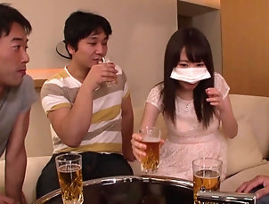 Gangbang,Japanese,Bra Rena squirting while getting pounded...