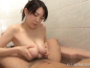 Couple,Hardcore,Asian,Japanese,Shower,Soapy,Big Tits,Natural Tits,Big Nipples Fancy Asian bimbo enjoying her big...