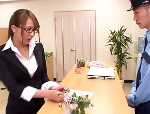 Couple,Hardcore,Reality,Asian,Japanese,Office,Stockings,Lingerie,Glasses Asian dame in stockings giving huge...