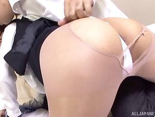 Asian,Japanese,Hardcore,Couple Asian secretary peels her pantyhose...