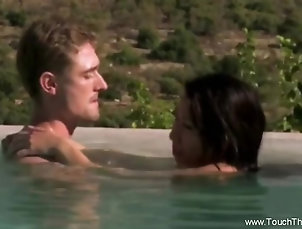 Couple,Asian,Outdoor,Pool,Oiled Erotic Massage With Oils  That Make...