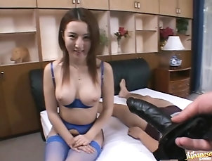 Asian,Lingerie,Strapon,Japanese,Bra,Stockings,Fishnet,Big Tits Cute Asian Fucks a Dude With a Strapon