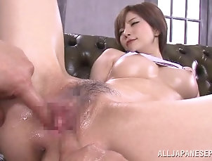 Asian,Couple,Japanese,Oiled,Panties,Vibrator Yuria Satomi gets her body oiled and...