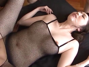 Group Sex,Hardcore,Asian,Japanese,Fishnet,Foursome Black fishnet body stocking babe...