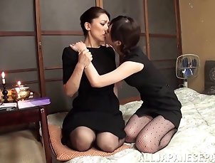 Lesbian,Asian,Japanese,Toys,Strapon Hardcore intense fuck featuring two...