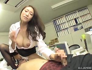 Couple,Japanese,Miniskirt,Stockings,Nylon,Office,High Heels Japanese secretary moans loudly while...