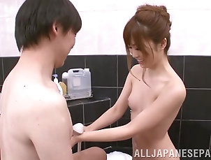 Amateur,Asian,Bath,Couple,Fingering,Hardcore,Japanese,Small Tits,Soapy Babe loves sucking her man's...