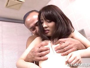 Couple,Hardcore,Asian,Japanese,Natural Tits,Bath,Old vs Young,Reality Letting an older man play with her...