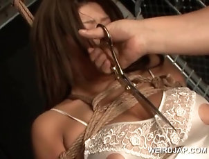 BDSM,Bondage,Fetish,Squirting,Slave Huge titted asian sex slave in ropes...