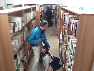 Couple,Old vs Young,Clothed Sex,Public,Doggystyle,Japanese in the public library, everything is...