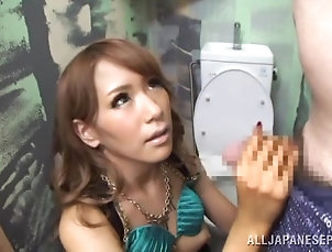 Amateur,Asian,Couple,Hairy,Hardcore,Japanese,Licking,Long Hair,Toilet Quick blowjob in the bathroom from a...