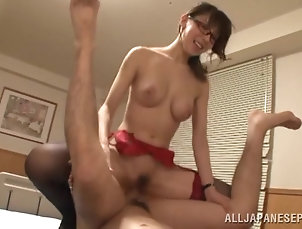 Couple,Hardcore,MILF,Asian,Japanese,Fingering,Big Tits,Fake Tits,Glasses,Lingerie,Stockings,Nylon Meisa Chibana gets her Japanese...
