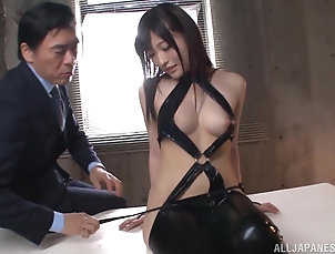 Couple,Japanese,Leather,Natural Tits Kinky babe Kitano Nozomi fucks with...