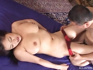 Threesome,MMF,Chubby,Japanese,Panties,Big Tits,Natural Tits Japanese woman ravished well by her...