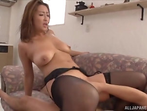 Couple,Japanese,Natural Tits,Stockings,Nylon Unthinkable reverse cowgirl ride with...