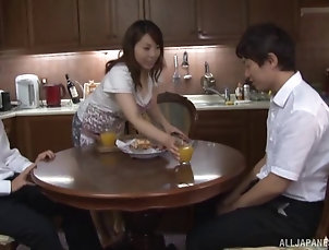 Couple,Hardcore,Asian,Japanese,Wife,Kitchen,Bra,Big Tits,Natural Tits,Clothed Sex Mari is easily seduced by a horny guy...