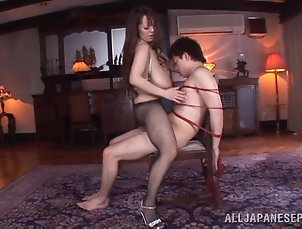 Asian,Japanese,Pantyhose,Fishnet,Long Hair,Natural Tits,Big Tits,Couple,Hardcore Stunning Asian babe ties dude up and...