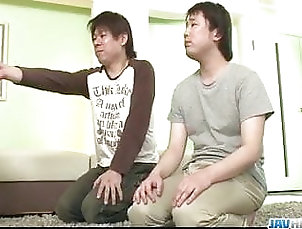 Asian;Blowjob;Hardcore;Group Sex;Japanese;Creampie;Big Tits Araki Hitomi deals younger males in...