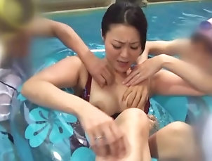 Brunettes,Foursome,Hardcore,Japanese,Natural Tits,Public Japanese milf fucks two horny dudes...