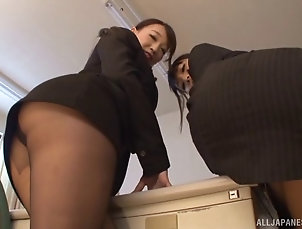Threesome,Hardcore,FFM,CFNM,Asian,Japanese,Office,Pantyhose,Nylon,Nice Ass,Reality Japanese business ladies showing...