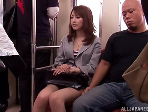 Asian,Bra,Bus,Couple,Hardcore,Japanese,Natural Tits,Public Hot Kaede Matsushima rides a dick and...