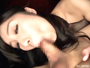 Couple,Hardcore,Asian,Japanese,Thong,Lingerie,Fishnet Sweet taste of the erected dick makes...