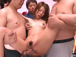 Asian Asian babe got cum coverage after...
