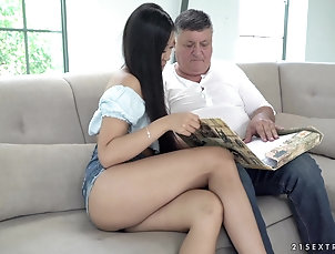 Couple,Asian,Old vs Young,Long Hair,Shorts Older guy gets to experience...