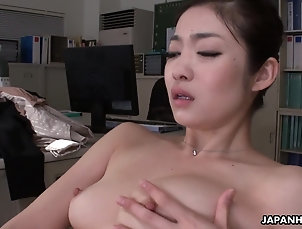 Japanese New office girl Ryu toys her cunt...