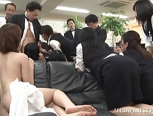 Asian,Japanese,Clothed Sex,Reality,Office,Group Sex,Hardcore,Bra,Doggystyle Cute Japanese secretary gets fucked...