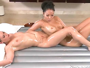 Babes,Lesbian,Massage,Reality,Natural Tits,Oiled,Nice Ass,Asian,Brunettes Oiled Up Asian and Brunette in Hot...