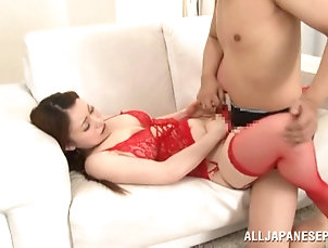 Couple,Hardcore,Asian,Japanese,Big Tits,Stockings,Lingerie,Fishnet Bubbly Asian in fishnets gets...