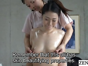 Lesbian,Japanese,Oiled,Massage,Natural Tits JAV CFNF lesbian massage for married...