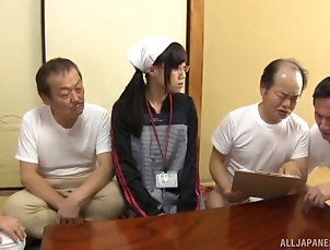 Gangbang,Japanese,Natural Tits,Glasses Mako Konno's hairy twat ravished...
