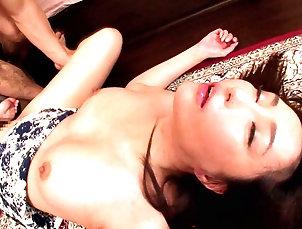Threesome,Japanese,Panties,MMF,Bra Haruka Aizawa's tight cunt is...
