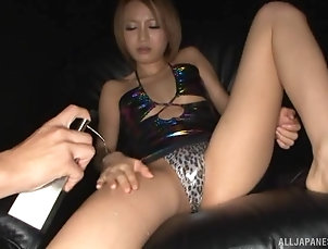Couple,Japanese,Panties,Oiled Hot Asian blonde wraps her hand...